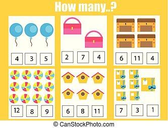 educativo, niños, objetos, muchos, juego, cómo, tarea, ...