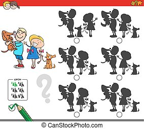 educativo, niños, sombra, juego, perros