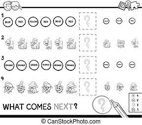 educativo, patrón, juego, colorido, página