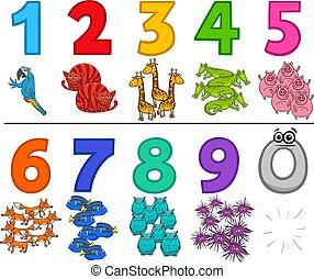 educativo, set, animali, numeri, cartone animato