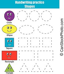 educativo, sheet., pratica, forme, gioco, cultura, activity., scrittura