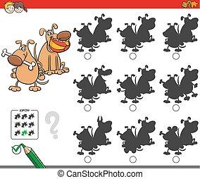 educativo, sombra, juego, con, perro, caracteres