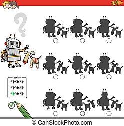 educativo, sombra, juego, con, robot, caracteres