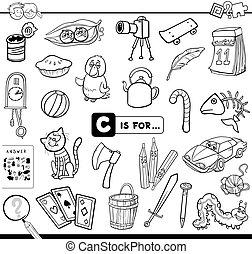 educativo, tarea, colorido, c, libro