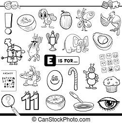 educativo, tarea, e, libro colorear