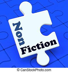 educativo, texto, rompecabezas, material, no, ficción, ...