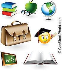 educativo, vettore, elementi