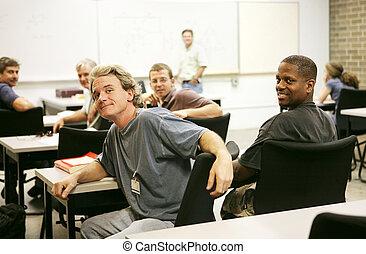 educazione, adulto, classe