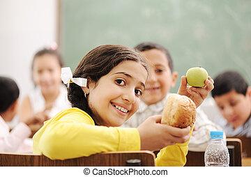educazione, attività, in, aula, a, scuola, felice, bambini, cultura