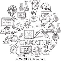 educazione, concetto, schizzo