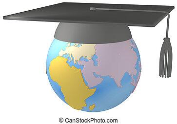 educazione, consiglio mortaio, berretto laurea, su, terra