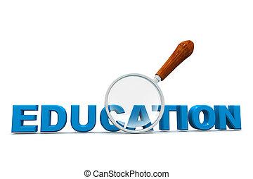 educazione, e, lente ingrandimento
