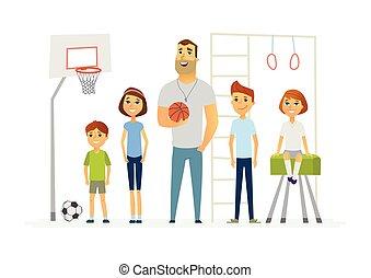 educazione fisica, lezione, a, scuola, -, moderno, cartone...