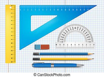 educazione, illustrazione, fornitura