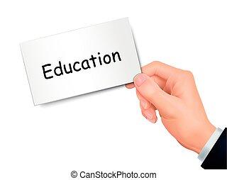 educazione, mano scheda