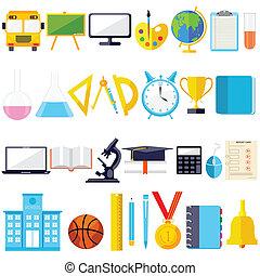 educazione, oggetto, icona