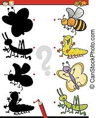 educazione, ombre, gioco, cartone animato