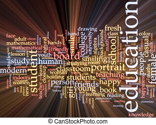 educazione, parola, nuvola, ardendo