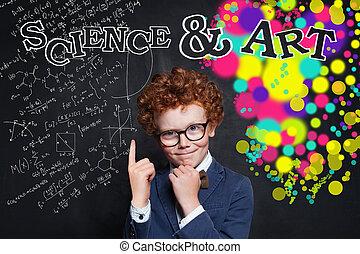 educazione, ragazzo, concetto, capretto, creatività