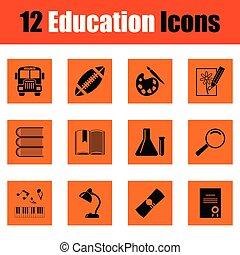 educazione, set, icona