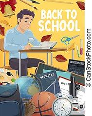 educazione, studente, supplies., scuola