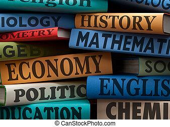 educazione, studio, libri, e, mela