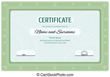 educazione, verde, diploma, certificato