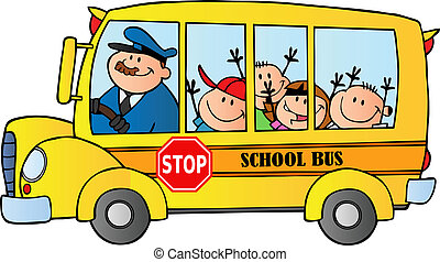eduque autobús, con, feliz, niños
