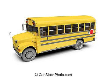 eduque autobús, encima, aislado, amarillo, blanco