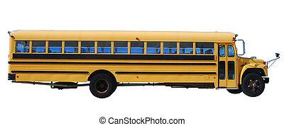 eduque autobús, encima, aislado, plano de fondo, blanco