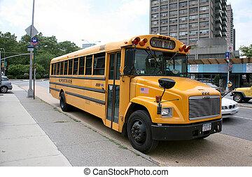 eduque autobús, tráfico, en la ciudad, de, nueva york