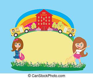 eduque autobús, y, colegialas, -, lugar, para, su, texto