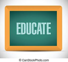 eduque, mensagem, desenho, tábua, ilustração