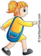 eduquer fille, marche, dessin animé