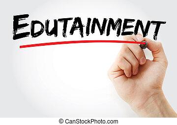 edutainment, marcador, texto