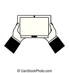 edv, besitz, tablette, hände