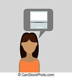 edv, karikatur, ikone, mit, zeichen, frau