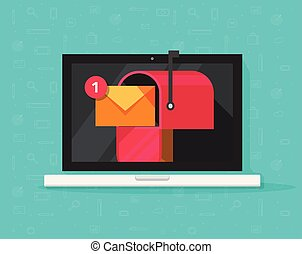 edv, mit, briefkasten, auf, schirm, vektor, abbildung, wohnung, karikatur, laptop pc, textanzeige, mit, postbuchsbaum, begriff, von, neu , e-mail, empfangen, brief, oder, newsletter, nachricht, internet, e-mail, auslieferung, inbox