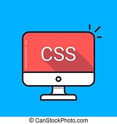 edv, mit, css, wort, auf, screen., kaskadierung, stil, blätter, stil, blatt, sprache, concept., webentwicklung, kodierung, lernen, concepts., einfache , linie, icon., modern, langer, schatten, wohnung, design, vektor, abbildung