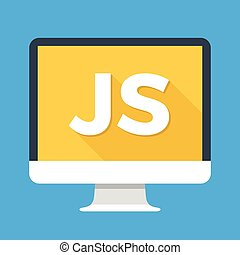 edv, mit, js, wort, auf, screen., javascript, scripting, language., webentwicklung, schaffen, js, drehbuch, kodierung, lernen, concepts., einfache , wohnung, icon., modern, langer, schatten, wohnung, design, vektor, abbildung