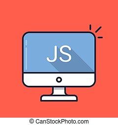 edv, mit, js, wort, auf, screen., javascript, scripting, language., webentwicklung, schaffen, js, drehbuch, kodierung, lernen, concepts., einfache , linie, icon., modern, langer, schatten, wohnung, design, vektor, abbildung