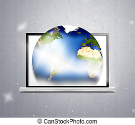 edv, planet erde, 3d, abbildung