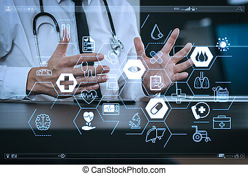 edv, tablette, arbeitende , doktor, medizin, modern, telefon, holz, stethoskop, digital, buero, buero, klug