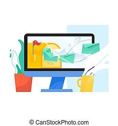 edv, textanzeige, mit, geöffnet, briefkasten, und, briefe, in, umschläge, fliegendes, heraus, von, ihm, auf, schirm, houseplant, und, mug., e-mail, post, oder, inbox, nachricht, service, webmail, application., wohnung, vektor, illustration.