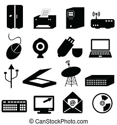 edv, und, technologie- ikonen
