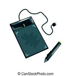 edv, zeichnungstablette, mit, pen., künstlerisch, ausrüstung, bunte, karikatur, vektor, abbildung