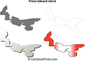 edward, île, contour, ensemble, vide, prince, carte