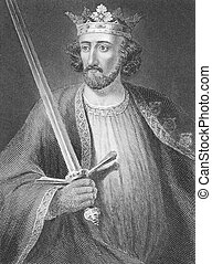 Edward I (1239-1307) on engraving from the 1800s. King of...