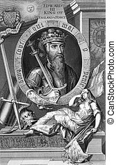 Edward III (1312-1377) on engraving from the 1700s. One of the most successful English monarchs of the Middle Ages. Engraved by G.Vertue after a painting by Windsor Castle.
