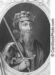 Edward III (1312-1377) on engraving from the 1800s. One of...